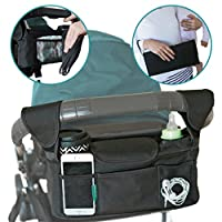 Stroller Caddy Organizer With Portable Changing Pad and BONUS Stroller Hooks. Single Stroller Handlebar Console best for Britax and BOB Strollers. Increase Your Stroller Storage by Mini Matters
