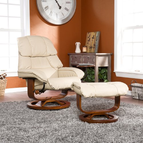 Southern Enterprises High Back Leather Recliner and Ottoman, Taupe