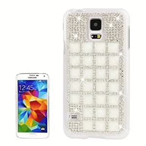 Luxury Grid Pattern Diamond Encrusted Plastic Case for Samsung Galaxy S5 G900 in White