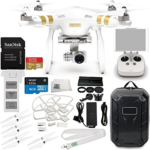 DJI Phantom 3 Professional Quadcopter w/ 4K Camera, 3-Axis Gimbal & Manufacturer Accessories + Water-Resistant Hardshell Backpack + 7PC Filter Kit (UV-CPL-ND2-400-Lens Hood-Stabilizer) + MORE