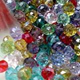 50pcs Mixed Color Faceted Crystal Rondelle Beads 4mmx6mm