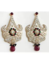 DollsofIndia Stone Studded White Laquered Post Earrings - Stone And Metal - White