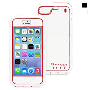 Snugg iPhone 5 Tuff Case in White and Red - High Quality Protective Non Slip, and Soft to touch for Apple iPhone 5