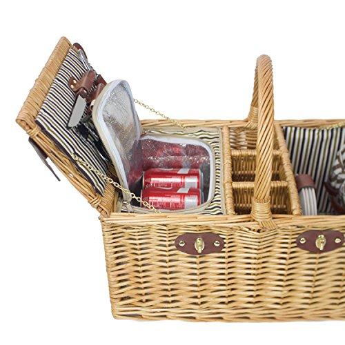 Picnic Basket Dish Set : Zelancio person square picnic basket set with insulated