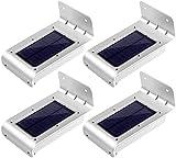 [2ª generación] LE Pack de 4 paneles LED solares con sensor de movimiento, lámpara nocturna inalámbrica, resistente, protección IP65, 16 LED, para entrada/sendas/acceso/jardín/pisos/patio Lámpara LED solar, luces de exterior solar, aplique solar LED