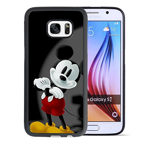Mickey Mouse Samsung Galaxy S7 Case, Onelee[Never fade] Mickey Mouse Samsung Galaxy S7 Case Black Soft Rubber TPU Anti Slip Drop Protection Case