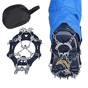 Boonor 19本爪 アイゼン 靴底用滑り止め 簡単装着 収納袋付き 雪山・登山・トレッキングなどに最適 (M(23-25cm))