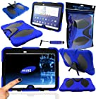 Magic Global Gadgets® - Blue Survivor Military Rugged Armour Tough Shock Proof Case Cover With Stand For Samsung Galaxy Tab 3 10.1 P5200 / P5210 / P5220 10.1 Inch With MGG Stylus & Built In Screen Guard