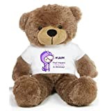 Brown 2 feet Big Teddy Bear wearing a Purple RAWR I Love You T-shirt