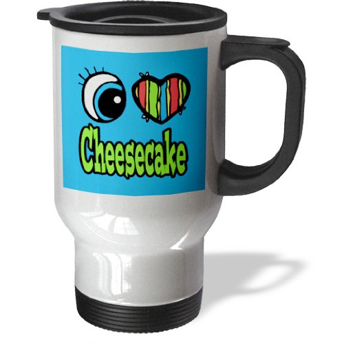 Tm_105949_1 Dooni Designs Eye Heart I Love Designs - Bright Eye Heart I Love Cheesecake - Travel Mug - 14Oz Stainless Steel Travel Mug