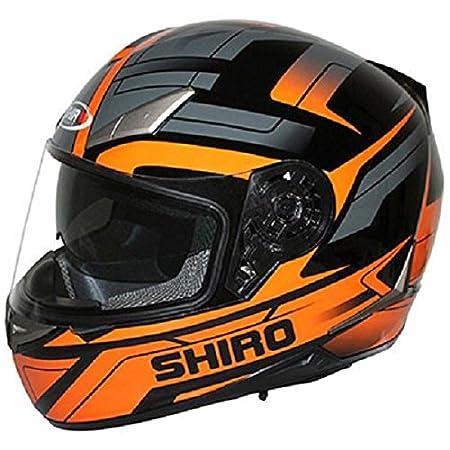 Casque moto intégral SHIRO SH-715 AUSTIN - Double écran - Noir / Orange
