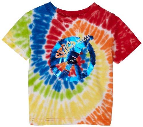 Flapdoodles Peace Guitar Swirl Tie Dye Tee, Rosewood, 24 Months