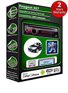 Peugeot 307 CD player car stereo Clarion USB radio play iPod iPhone Android kit from Peugeot