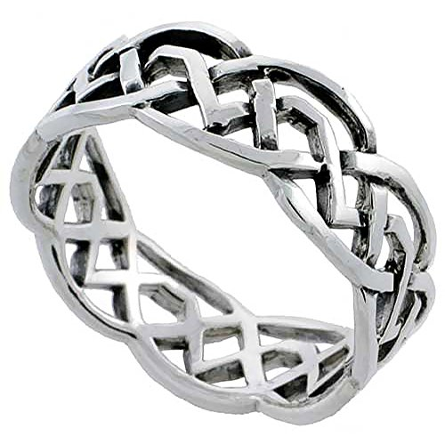 Sterling Silver Celtic Knot Wedding Band Thumb Ring 1/4 Inch Wide, Size 8