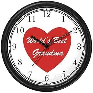 Red Heart - World's Best Grandma - Love & Friendship Theme Wall Clock by WatchBuddy Timepieces (Slate Blue Frame)