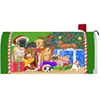 Happy Howlidays Christmas Dogs Magnetic Mailbox Cover Wrap