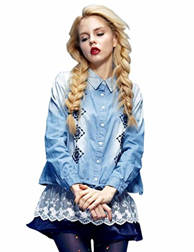 Elf Sack Womens Autumn Denim Blouse Embroidery Geometric Pattern Two-Piece Set Medium Size Blue