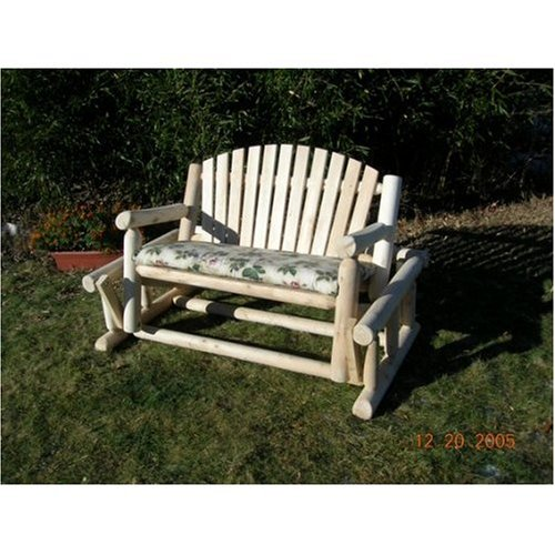 Rustic Cedar Log Style Outdoor Glider Garden Bench