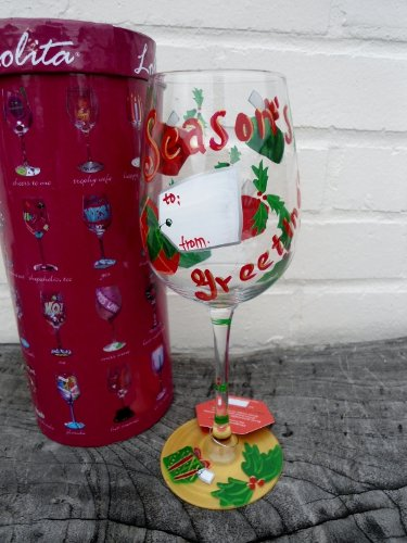 Hand Painted Lolita Wine Glass Seasons Greetings in Gift Box - Fabulous Christmas Gift Idea! юбка strawberry witch lolita sk
