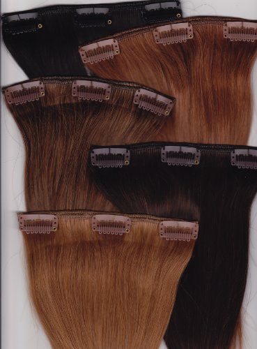 "14"" Silky Straight 100% Human Hair Clip On In Extensions 6 Piece Set Color 8 Medium Brown"