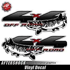 Fishing decal 4x4 truck sticker muskie fish for Fishing stickers for trucks