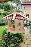 Vogelhaus-Vogelhäuser-(V74)-sechs eck Braun-Vogelfutterhaus Vogelhäuschen-aus Holz- Blitzversand!!!DHL Schreinerarbeit