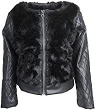 Catherine Malandrino Little Girls Fur Moto Jacket with PU Leather Quilted Sleeve