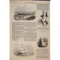 Impresión Antigua Del Barco de esclavos Ferroviario del Pirata del Hudson de la Nave de Gran Bretaña