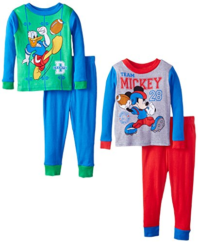 Disney Little Boys' Disney Champions 4-Piece Pajama Set, Blue, 2T