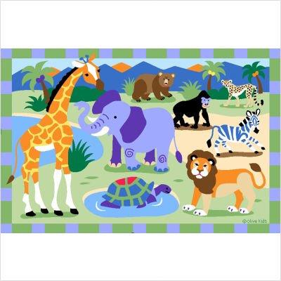 Olive Kids Wild Animals Jungle Rug Size: 3'3'' x 4'10''