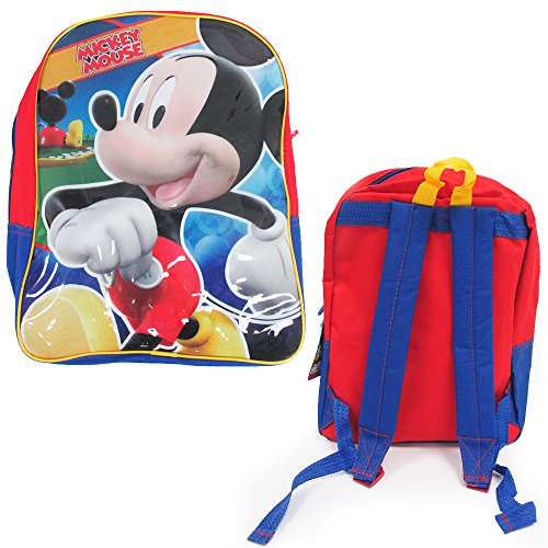 """Disney Mickey Mouse Backpack Bag 15"""" Kids Toddler Boys School Camp Licensed New front-643923"""