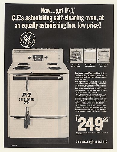 1966 General Electric P-7 Self-Cleaning Oven Range Print Ad (51136)
