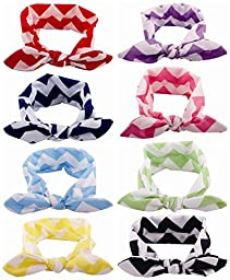 Qandsweet Baby Girl Hairbands Knotted Design (Bunny Ears 8 Pack)
