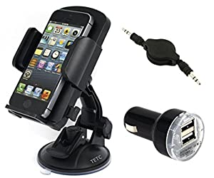 Eholder Car Windshield Mount Holder+Dual USB Port Car Charger+Car Audio AUX Cable, 360 Degree Rotations Premium Quality One Touch Universal Car Windshield Mount Holder Cradles for iPhone 6,5S,5C,5,4S,4, Samsung Galaxy S5,S4,S3,Note 2,Note3 Mold EPNIS037