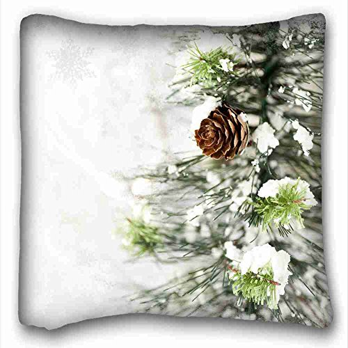 Custom Cotton & Polyester Soft ( Nature Trees winter snow trees ) Custom Cotton & Polyester Soft Rectangle Pillow Case Cover 16x16 inches (One Side) suitable for Full-bed PC-Green-10881