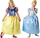 Child's Girls Disney Deluxe Reversible Snow White & Cinderella Princess Book Day Fancy Dress Costume Outfit
