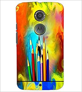 PrintDhaba Colour Pencils D-5847 Back Case Cover for MOTOROLA MOTO X2 (Multi-Coloured)