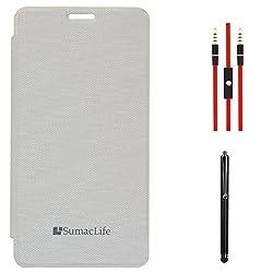 SumacLife Premium Flip Cover Case for Intex Aqua Star 5.0 (White) + AUX Cable + Stylus