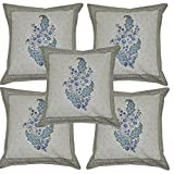 Vintage Home Decor Hand Block Print Work Indian Cotton Handmade Cushion Cover Set 16 X 16 Inches