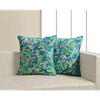 Printed Cushion Cover Set Of 2 Poplin Fabric 18X18 Inch,CP182-2603,Multicolor