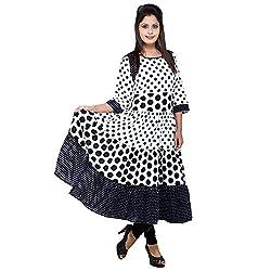 AnjuShree Choice Women' Printed Cotton Stitched Anarkali Kurta Kurti