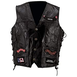 Buy Diamond Plate Genuine Buffalo Leather Biker Vest by Diamond Plate