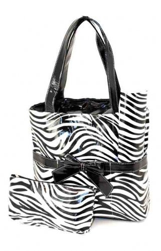 Diaper Bag - Zebra Print- Includes Changing Pad and Accessories Bag - Laminated For Easy Cleaning