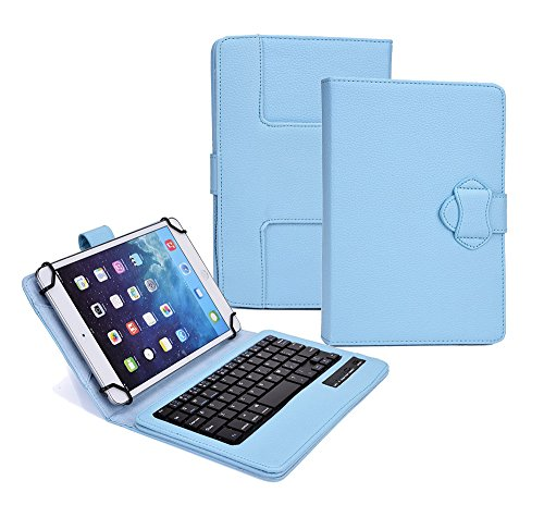 Click to buy Tsmine 2in1 Premium Rechargeable & Detachable Wireless Bluetooth Keyboard PU Leather Case Cover Build-in Stand Protective Skin for LG G Pad 8.0 LTE V480 / V490 , Keyboard Case Sky Blue - From only $26.89