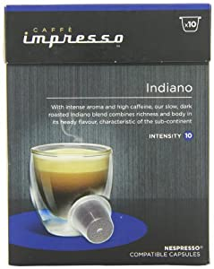 Caffe Impresso Indiano Nespresso Compatible Capsules (Pack of 4, Total 40 Capsules)