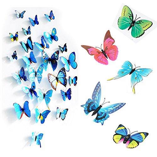 PcsPce - 3D Butterfly Wall Sticker Fridge Magnet Home Decor Art Applique (Blue)