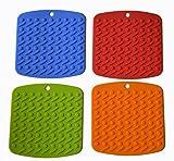Ioven Silicone Pot Holder, Trivet Mat,jar Opener,spoon Rest and Garlic Peeler (Set of 4) Non Slip, Flexible, Durable, Dishwasher Safe, Heat Resistant Hot Pads
