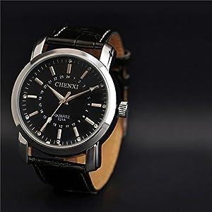 Black Leather Strap Rhinestone Wrist Watch,Luminous Waterproof Quartz Watch For Men-Black