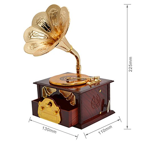 Fding Classical Trumpet Horn Turntable Gramophone Art Disc Music Box & Make up Case &Jewelry Box Home Decor (Brown) 1