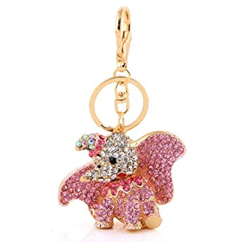 Absolutely Stunning Pink Crystal and Gold Plated Alloy Disney Dumbo Key Ring / Bag Charm